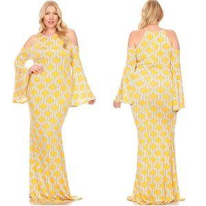 Plus Yellow Open Cold Shoulder Cocktail Maxi Dress